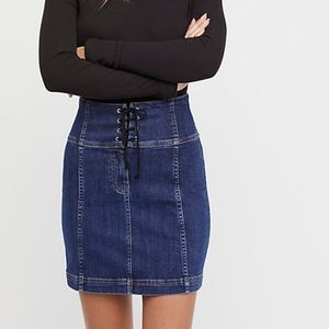 FP Modern Femme lace up Denim mini skirt
